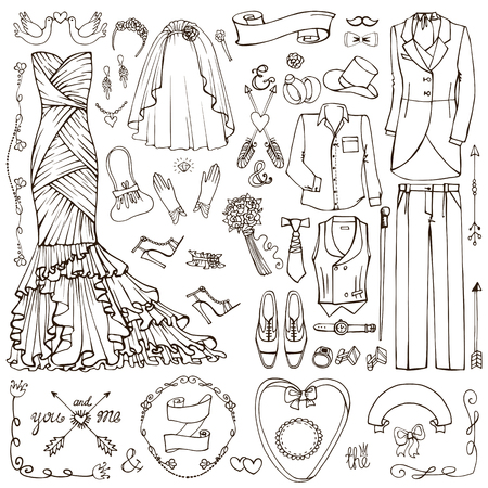 Wedding fashion dress wear,decor elements.Doodle bride dress,groom suit.Vintage Fashion,clothing set.Hand drawn Vector Illustration,sketch.Retro Bridal shower,holiday icons.For invitation card.Linear style