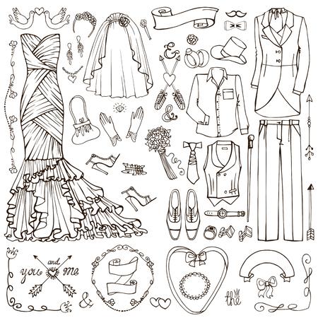 Wedding fashion dress wear,decor elements.Doodle bride dress,groom suit.Vintage Fashion,clothing set.Hand drawn Vector Illustration,sketch.Retro Bridal shower,holiday icons.For invitation card.Linear style