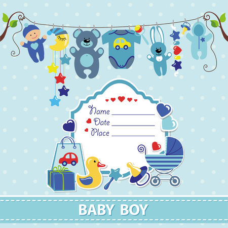 birthday card: New born Baby boy invitation shower card.Flat elements hanging on rope,label,stork.Vector scrapbook decor.Greeting pstcard.Blue,cyan colors,polka dot background.Design template.