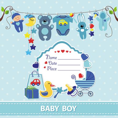 Nyfödda barn pojke inbjudan dusch card.Flat element hänger på repet, etikett, stork.Vector klippbok decor.Greeting pstcard.Blue, cyan, polka dot background.Design mall.
