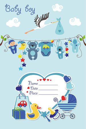 New born Baby boy invitation shower card.Flat elements hanging on rope,label,stork.Vector scrapbook decor.Greeting potcard.Blue,cyan colors.Design template. Vettoriali