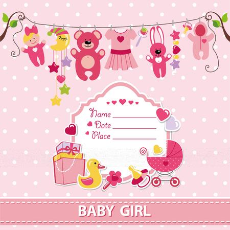 Pasgeboren baby meisje uitnodiging douche card.Flat elementen opknoping op touw, etiket, stork.Vector scrapbook decor.Greeting pstcard.Pink kleuren, polka dot background.Design template. Stock Illustratie
