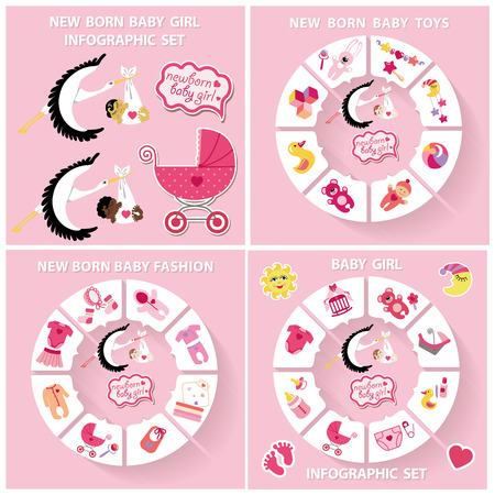 new born: New born Babygirl cute infographic set with flat icons in flat style.Vector circle business concepts.For loop business report or plan,education template,business brochure,system diagram