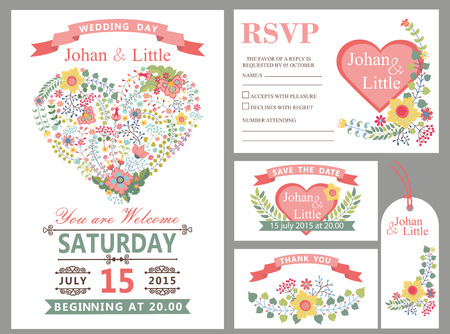 Wedding design template set with flowers,pink hearts,frame,ribbon and border in Retro style .For Wedding  invitation,thank you card ,save date,tag,RSVP card.Vintage vector,floral decor.
