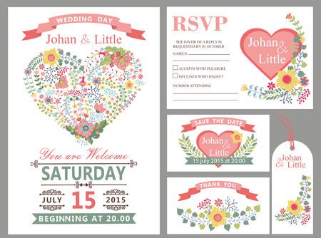 Plantilla de diseño de boda con flores, corazones de color rosa, marco, cinta y borde en estilo retro. Para invitación de boda, tarjeta de agradecimiento, guardar fecha, etiqueta, tarjeta de RSVP. Vector vintage, decoración floral. Ilustración de vector
