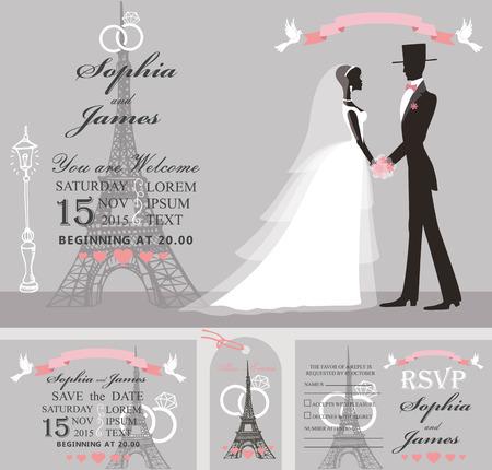 paris street: Wedding design template set.Bride in white dress and groom,Eiffel tower,Paris street on grey background.Flat  people silhouette.Wedding invitation,save date,RSVP card,tag. Vector Illustration