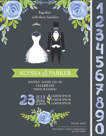 bridal dress: Wedding invitation set.Watercolor blue flowers,bridal dress,groom  wear with numbers.Hand painting Fashion vector.Save date cards