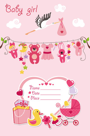 hanging girl: New born Baby girl invitation shower card.Flat elements hanging on rope,label,stork.Vector scrapbook decor.Greeting potcard.Pink colors.Design template. Illustration