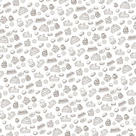 Doodle vector.Bakery,Cakes and dessert,pastries  linear pattern.Colored vintage icons,sweet elements background formenu,cafe shop. Flat hand drawn vintage collection.Backdrop,fabric,wallpaper Иллюстрация