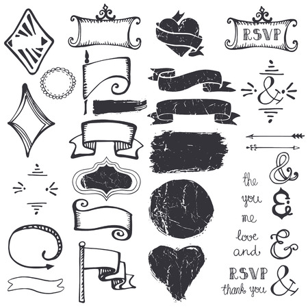catchword: Doodles decor element set.Badges,frame,arrow,hearts,lettering ampersands and ribbons.Design template and invitation. Hand drawing sketch. For wedding,Valentine day and holiday.Vintage Vector