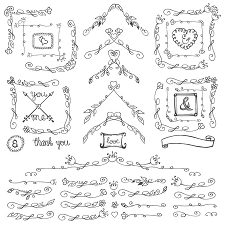 florish: Doodles linear border,dividers,frames and corners,florish decor set.For design templates,invitations and menu.Vintage Hand drawing .For weddings,Valentines day,holidays and birthday.Vector Illustration