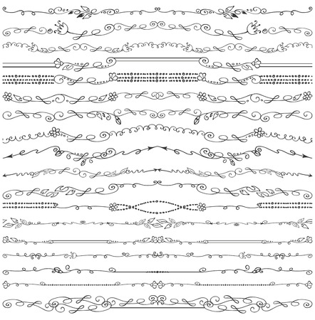 florish: Doodles seamless border,pattern,brushes and florish decor set.For design templates,invitations and menu.Vintage Hand drawing .For weddings,Valentines day,holidays and birthday.Vector