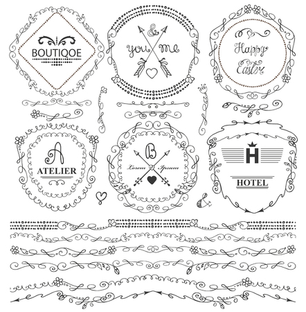 florish: Doodles seamless border,frame,arrow,brushes and florish decor elements set.For logo design templates,invitations and menu.Vintage Hand drawing .For weddings,Valentines day,holidays and birthday.Vector