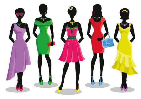 party wear: Fashion shopping girls illustration.Vector.Sale.Pretty woman in Colored party dresses.Design template and background.Fashion wear,vector set. Christmas, shopping,retail,discount poster and Black friday