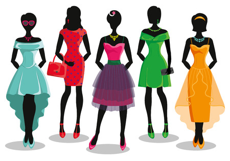 party wear: Fashion shopping girls illustration.Vector.Sale.Pretty woman in Colored  party dresses.Design template,background.Fashion wear and vector set.Christmas,shopping,retail,discount poster and Black friday Illustration