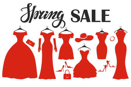 Fashion red dresses in modern flat design.Vector.Sale poster,background. Vector Composition with dress,wear,accessories.Fashion Illustration.Party Dresses hanging on the hanger.Spring shopping