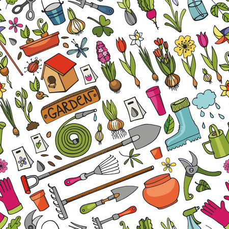 raking: Spring garden seamless pattern.Hand drawn flowers,bulb, garden tool,boarding equipment background.Vector garden sketch elements.Spring Gardening ,planting spring symbols,seedlings,vintage vector elements