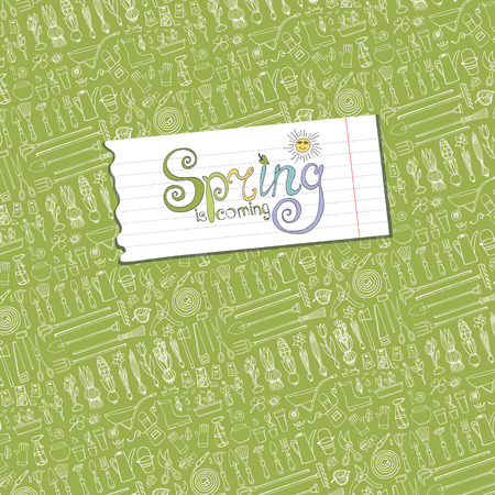 text tool: Spring is coming text,garden pattern backdrop,linear background.Hand drawn vector sketch elements flowers,bulbos,garden tool,boarding equipment,lettering.Gardening Outline spring symbols,vintage vector. Illustration