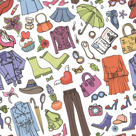 spring fashion: Spring fashion seamless pattern.Vector hand drawing womens clothing,doodle sketch background.Women wear.Colored elements for spring season.Fashion illustration,wallpaper