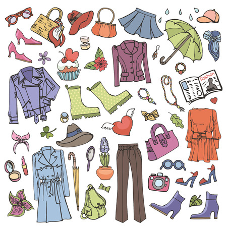 hand wear: Spring fashion set.Vector hand drawing womens clothing,doodle sketch.Women wear,dress collection.Colored elements for spring season.Fashion illustration.