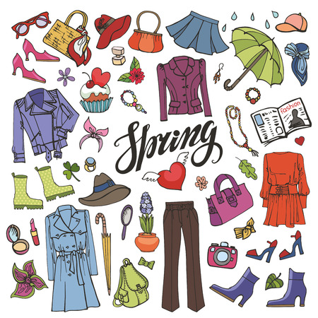 hand wear: Spring fashion  with lettering spring is coming.Vector hand drawing womens clothing,doodle sketch.Women wear,quote.Colored elements for spring season.Fashion illustration.