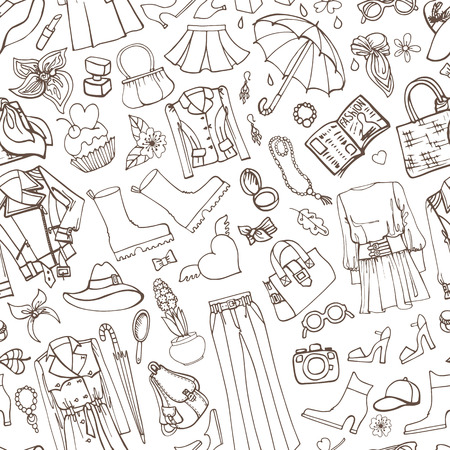 spring fashion: Spring fashion seamless pattern.Vector hand drawing womens clothing,doodle sketch background.Women wear.Outline elements for spring season.Fashion illustration,wallpaper Illustration