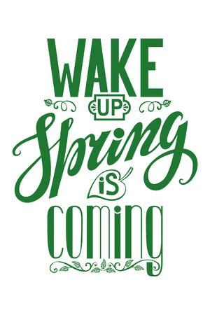 springtime: Spring design,Handwriting lettering,quotes.Vector Wake up Spring is coming.Next on white background.Spring day season,springtime wallpaper,text.Web and art. Calligraphic Retro Illustration.Vertical