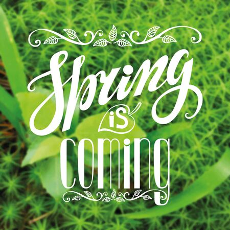 springtime: Spring design,Handwriting lettering,quotes.Vintage vector Spring is coming.Green nature blur background.Spring season,springtime wallpaper,text.Vector calligraphic.Web and  art.Retro Illustration.Square