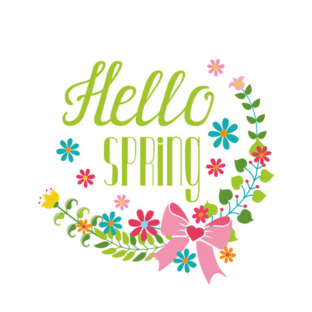phrases: Spring season decoration.Vector Cartoon flower wreath,lettering title,quotes  Hello spring,,bow.Spring baby Illustration.Modern flat style.Greeting typographic decor.Written spring phrases