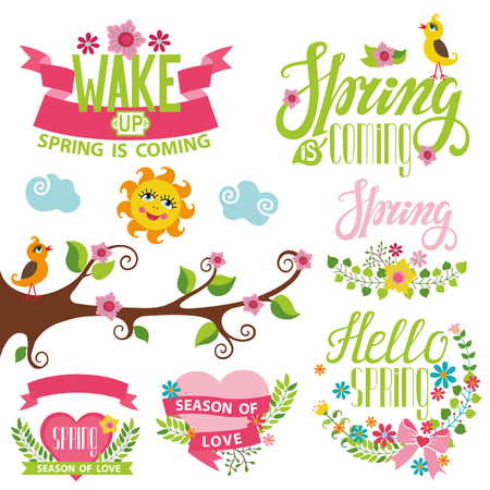 phrases: Spring season decoration set.Vector Cartoon elements,bird,flowers,heart,tree branch,lettering title,quotes,sun and ribbons.Spring baby Illustration.Modern flat style.Greeting typographic decor.Written spring phrases