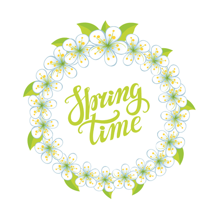 Spring design,Handwriting lettering and quotes.Cherry flowers circle wreath.Spring time poster.Vector handwriting words,background.Typographic poster.Web,print,calligraphic Illustration 向量圖像
