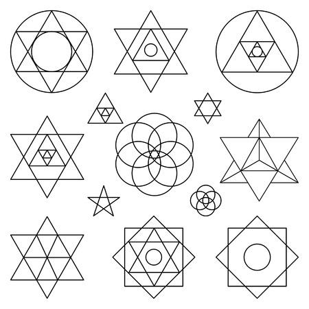 Heilige geometrie symbolen en icons.outline objects.Vintage Alchemy, religie, filosofie, spiritualiteit, hipster tekenen en elements.Sacred geïsoleerd boeddhisme, godsdienst, historische set en etnische vormen