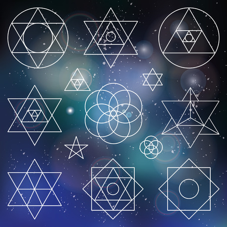 spirituality: Sacred geometry symbols and icons.outline objects.Vintage Alchemy,religion, philosophy,spirituality,hipster signs and elements.Buddhism,religion,historical set and ethnic shapes.Blurred space background Illustration