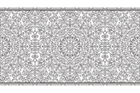 revival: Ethnic seamless pattern borders background,ornate strip.Vintage decorative vector ornament.East,Islam,Arabic,Indian, motifs,revival swirling.Abstract Tribal texture.Orient,symmetry lace and fabric decor