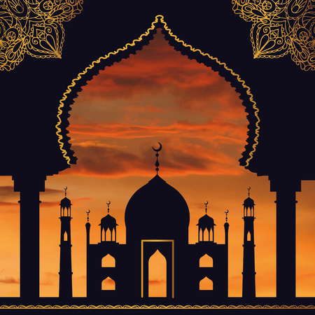 ul: Islam,arabic,muslim background in arch.Vector Sunset sky,clouds. Celebration card for Eid Ul Adha festival,Ramadan Kareem and holiday template.Mosque,minaret,Arabesque decor.Vintage Illustration.Orange