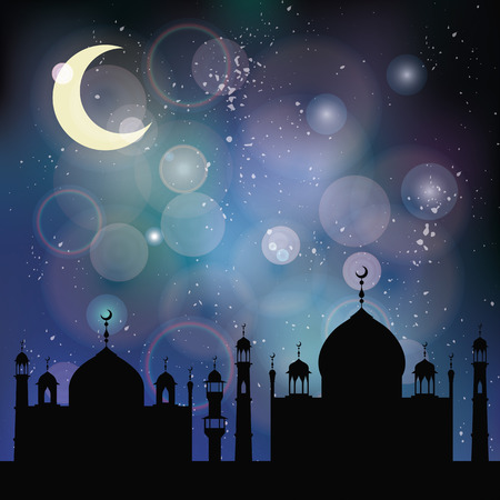 ul: Islam,muslim blurred bokeh background.Vector Celebration card for Eid Ul Adha festival,Ramadan Kareem,arabic holiday template.Mosque,minaret,moon,night sky.Vintage mystic Illustration Illustration
