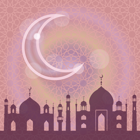 ul: Islam,muslim pattern background.Vector Celebration card for Eid Ul Adha festival,Ramadan Kareem,arabic holiday template.Mosque,minaret,moon,ethnic ornament.Vintage Illustration