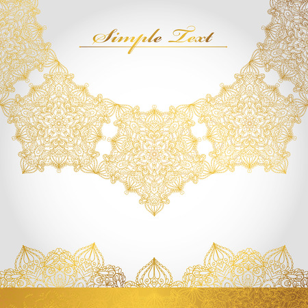 east indian: Mandala pattern,background.Vintage decorative ornament and background. East and Islam,Arabic,Indian,motifs and revival swirling.Ethnic texture.Orient,symmetry lace.Wedding and holiday greeting card.Gold,white