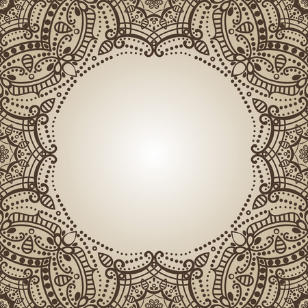 east indian: Mandala pattern.Vintage vector decorative ornament and background. East,Islam, Arabic, Indian,ottoman and Orient motifs.Abstract Tribal and ethnic texture. Symmetry Brown mosaic.Henna decoration. Illustration
