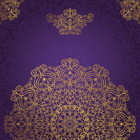 Mandalapatroon en background.Vintage decoratieve ornament en background.East, de islam, het Arabisch, Indiaas, Ottomaanse motieven en revival swirling.Gold, violet Abstract tribale en etnische texture.Orient, symmetrie kant, behang.