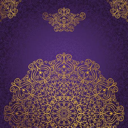 Mandalapatroon en background.Vintage decoratieve ornament en background.East, de islam, het Arabisch, Indiaas, Ottomaanse motieven en revival swirling.Gold, violet Abstract tribale en etnische texture.Orient, symmetrie kant, behang.