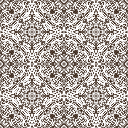 east indian: Mandala seamless pattern.Vintage vector decorative ornament and background. East,Islam, Arabic, Indian,ottoman and Orient motifs.Abstract Tribal and ethnic texture. Symmetry Brown mosaic,tile,fabric and wallpaper. Illustration