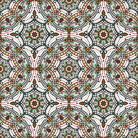 east indian: Mandala seamless pattern.Vintage vector decorative ornament and background. East,Islam, Arabic, Indian,ottoman and Orient motifs.Abstract Tribal,ethnic texture. Symmetry colored mosaic,tile,fabric and wallpaper Illustration