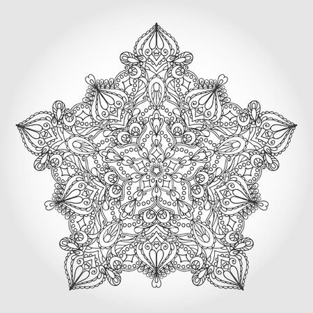 east indian: Mandala pattern Vintage decorative star ornament.Hand drawn background. East,Islam,Arabic Indian and ottoman motifs.Abstract Tribal,ethnic,heart texture.Orient, symmetry lace,meditation symbol