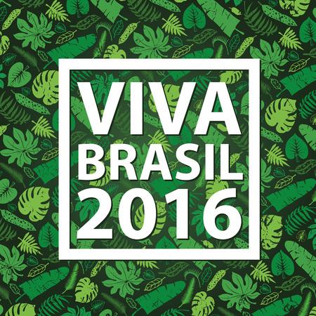 Brazil background.Title Hurrah Brasil.Tropical palm leaves hurrahpattern.Vector Green leaf ,plant Silhouette on black background.Summer Illustration,banner for ompetition 2016