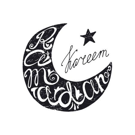 Doodle calligraphy text Happy Ramadan Kareem in moon shape with arabic  islamic holy month of muslim community, Ramazan-ul-Mubarak celebration.Vector lettering Black silhouette.Greeting card Illustration