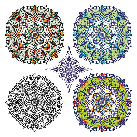 east indian: Mandala pattern set.Vintage vector decorative ornamenta and background. East,Islam,Arabic,Indian,ottoman motifs.Abstract Tribal and ethnic texture.Orient, symmetry lace,rosette and meditation symbol set.