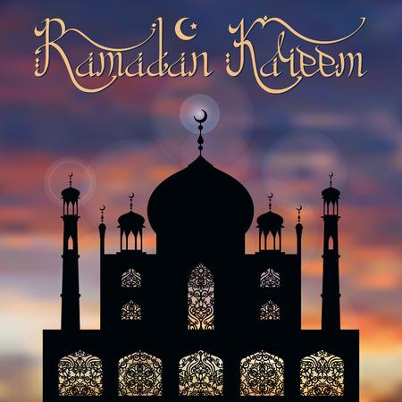 minaret: Ramadan Kareem card.Islam,arabic and muslim background.Vector Mosque,ornamental window,minaret ,moon and night blue sky.Vintage Celebration card, holiday template. Illustration.Mosque black silhouette Illustration