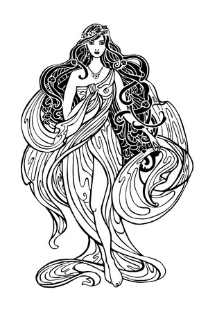 Art Nouveau styled woman with long flowing hair and drapery dress.Vintage art design.Beautiful female,girl.Vector Art Nouveau graphics template.Fashion illustration.Antique drapery dress Ilustração