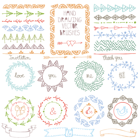Doodle Hand drawn brushes,wreath, line border and ribbon set.Pastel Colors geometric decor.For design template, wedding,invitations, holiday, Valentine day,baby design.Cute ornamental Vector